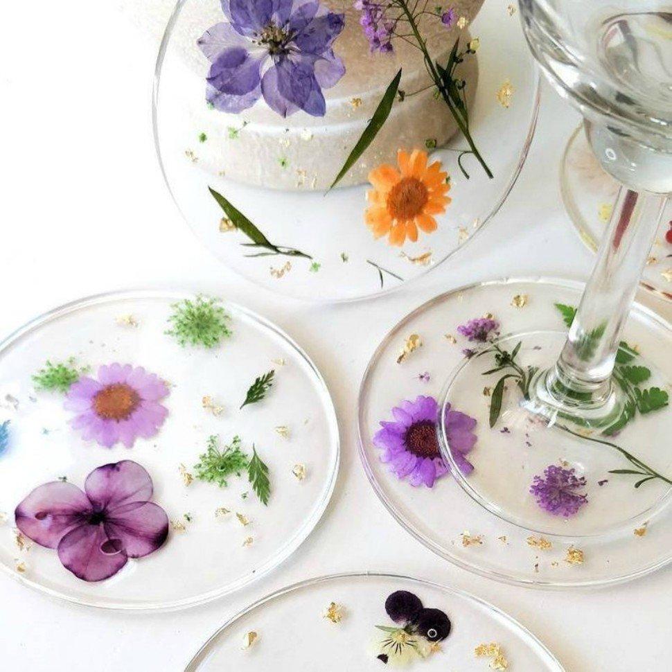 sottobicchieri con fiori